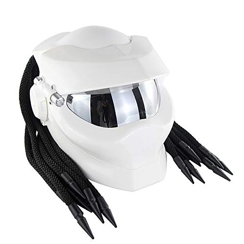 DYM258 Jagged Warrior Predator Full Face Helmets D.O.T Certified Motorcycle Riding Harley Retro Scorpion Mask Cross-Country with Braid and LED Light,White,XL