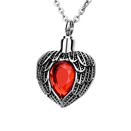 Angel Wing Birthstone Cremation Urn crystal Necklace Heart Memorial Pendant Stainless Steel Jewelry