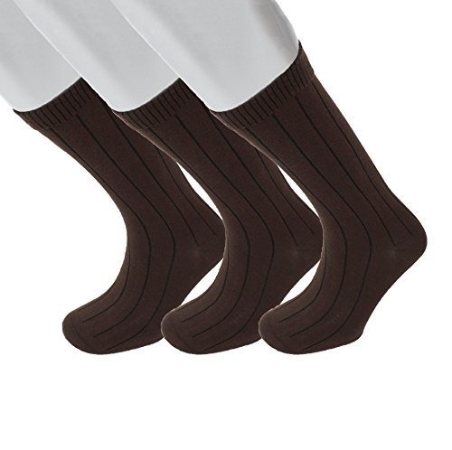 Diabetic Socks | Mens Brown Mid-Calf Ribbed 3 Pack | Seamless Toe | Non-Binding Top | Sock Size 10-13 | Improve Foot Health Comfort Circulation for Diabetes, Edema, Flight Travel, (Ribbed Diabetic Socks)