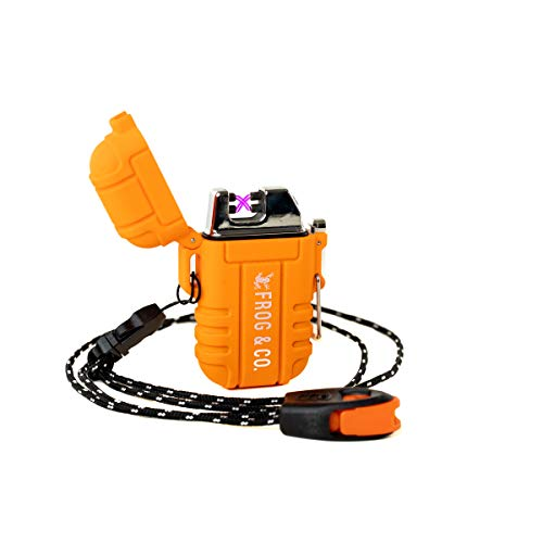 Waterproof Tough Tesla - Flameless Double Arc Rechargeable Windproof Outdoor USB Electric Lighter with Free Paratinder Necklace and Free Emergency Whistle by Frog & Co. (Orange)