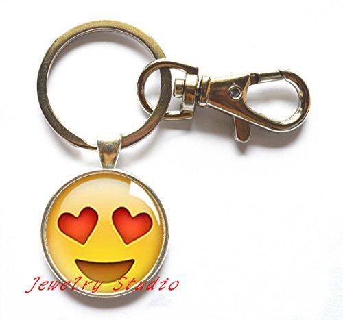 Heart Eyes Emoji Key Ring,Emoji Emoticon Keychain Jewelry Silver Plated Key Ring, Modern Keychain,Fun Jewelry-HZ00255