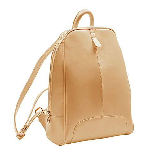 Shijinshi Women's Beige Leather Pure Color Backpack Shoulders Bag by Shijinshi