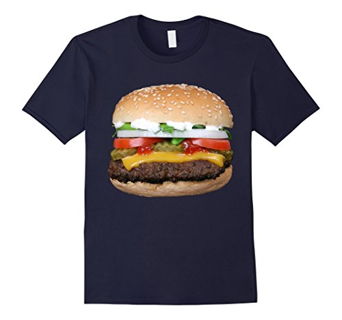 [Men's Burger Cheeseburger matching with Fries costume t-shirt Small Navy] (Twin Costumes Diy)