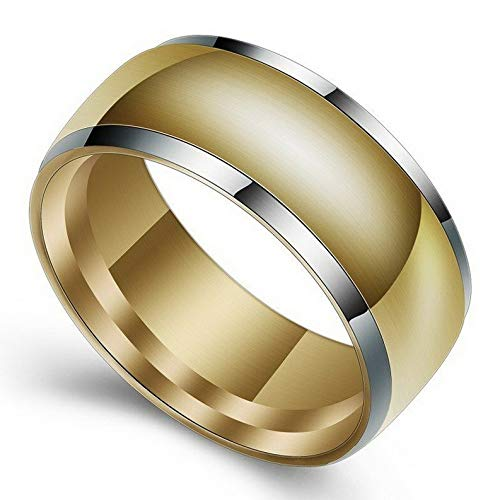 (Waldenn 8mm SilverGold Plated Band Mens Gift 316L Stainless Steel Wedding Ring Sz 7-12 | Model RNG - 26685 | 11)