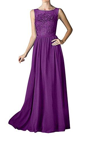 mia Spitze Ballkleider Partykleider Braut A Elegant Rock Linie Chiffon Abendkleider Lang Abschlussballkleider Violett La Hf4w1nqxH