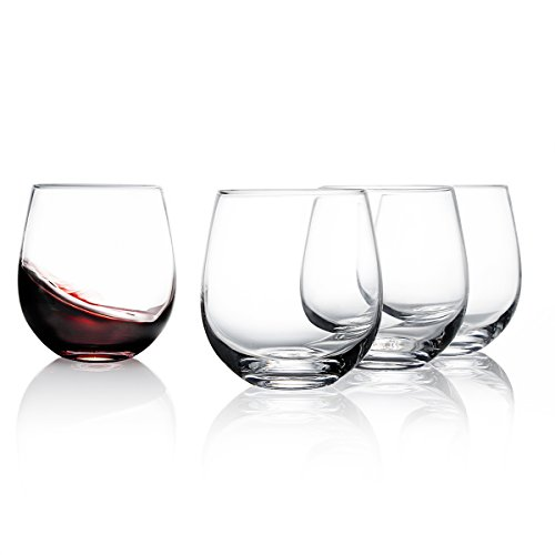 (【Flash Deal】Sweese 6101 Stemless Wine Glasses, 15 Ounce, Great for White or Red Wine - Set of 4)
