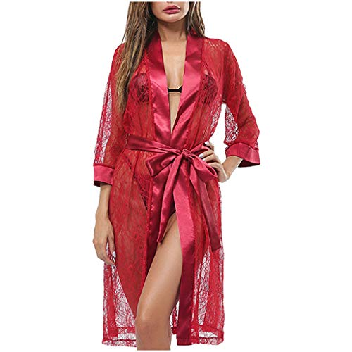 WILLBE Women Lace Robe Lingerie Mesh Nightgown Sleeping Skirt Sexy Perspective Underwear Sexy Pajamas Silk Lingerie Wine Red (New York Rangers Robe)