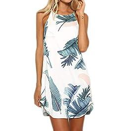 YOINS Women's Summer Sleeveless Mini Dresses Floral Print Dresses Plain Crew Neck Beach Dress Sundress Tank Vest Tops