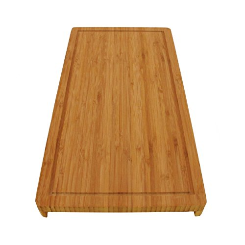 BambooMN Brand Bamboo Griddle Cover/Cutting Board for Viking Cooktops, Vertical Cut with Raised Design, Small (10.25