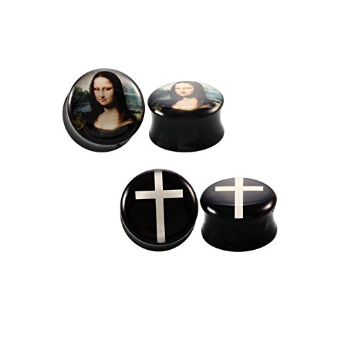 2 Pairs Mona Lisa & Cross Solid Acrylic Ear Plugs Flesh Tunnels Double flared Expander Stretcher Piercing Jewelry … (9/16(14mm)) (Plugs Acrylic Ear Flesh Tunnel)