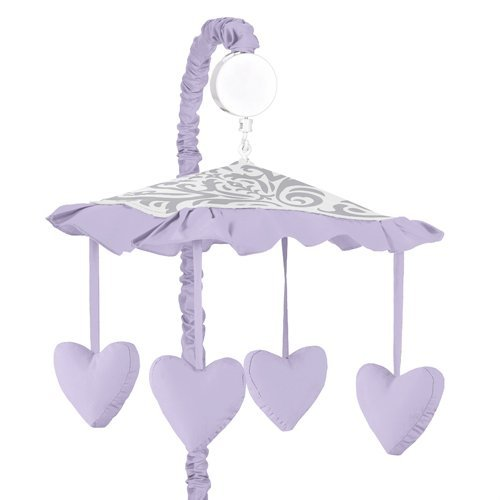 Lavender, Gray and White Damask Print Elizabeth Musical Baby Crib Mobile for Girl Bedding Sets