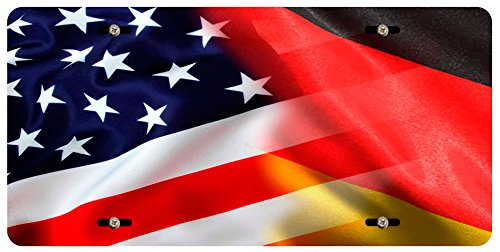 BleuReign(TM) Mixed USA and Germany Flag Car Vehicle License Plate Auto Tag