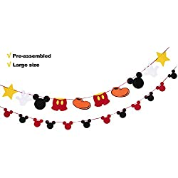 Mickey Mouse Party Supplies Felt Garland 2nd Birthday Party Banner Photo Prop Decoration for Kids