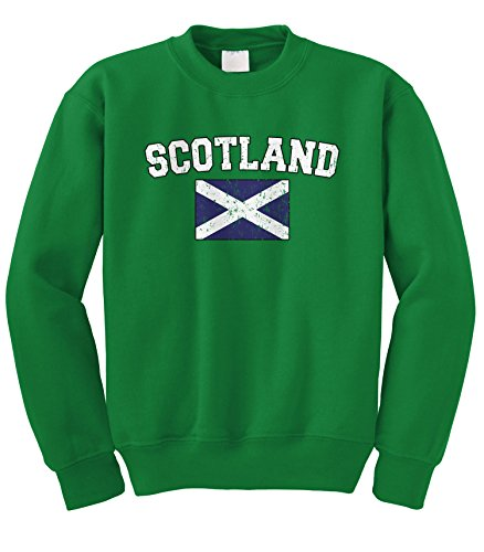 Cybertela Faded Distressed Scotland Flag Crewneck Sweatshirt (Kelly Green, Small) - Green Distressed Crewneck