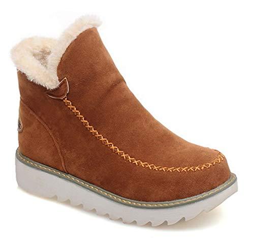 Inverno Inverno Inverno Beige Allineato Stivali Stivali Stivali Stivali Stivali Donna Moda Caloroso Pelliccia Antiscivolo Piatto Stivaletti Neve da Bambina WqvqB4OI