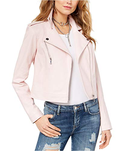 GUESS Women's Bently Faux-Leather Moto Jacket Cloud Pink ()