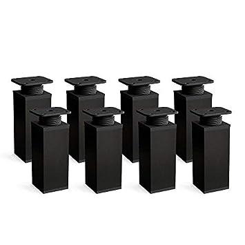 Design: Noir Sossai MFV1-BL100-8 lot de 8 Forme angulaire: 40 x 40 mm Pieds de meubles r/églables Hauteur : 100mm +//- 20mm Vis inclus Mat/ériel : 100/% aluminium
