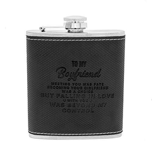 (Personalized Engraved Hip Flask -7oz with Funnel- Stainless Steel Flask Sets, The Perfect flasks for liquor for men Gift, Boyfriend Gift, Husband Day Gift or Groomsmen Gift (Black-To Boyfriend))