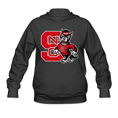 Hotboy19 Women's Long Sleeve Sweatshirt North Carolina State University Black Size L (Nc State Wolfpack Puzzle)