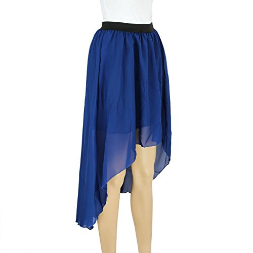 Women's Elastic Waist High Low Hem Asymmetric Chiffon Skirt