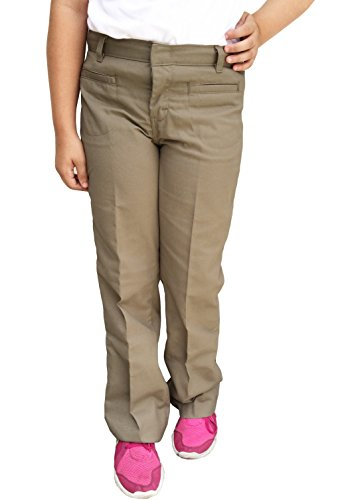 Dickies Girl's Welt Pocket Flare Bottom Pant, Dark Navy, 14