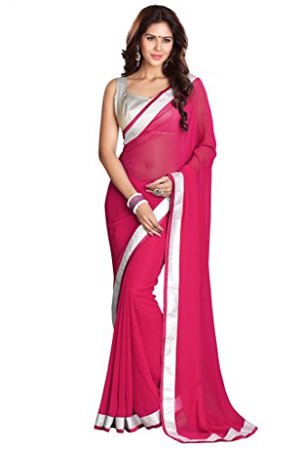 Saree Magenta - Mirchi Fashion Women's Georgette Lace Wedding Partywear Saree Free Size Magenta