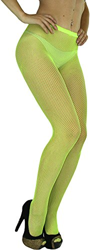 ToBeInStyle Women's Sexy Seamless Fishnet Full Footed Panty Hose Tights Hosiery - Neon Yellow - One Size Regular -