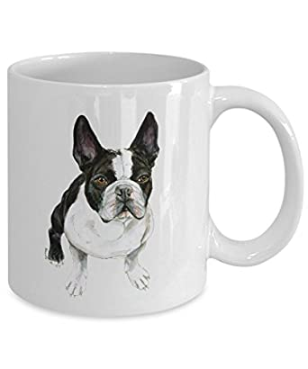 Black and White French Bulldog Mug - Style No.11 - Cute Ceramic Frenchie Coffee Cup (11oz)