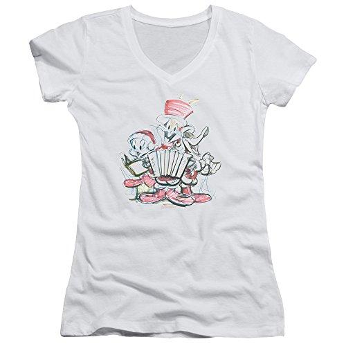 Filles Des Col En T White À Pour Tunes Looney shirt V Jeunes Femmes 0AqzXf