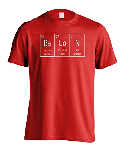 Victory Ink Men's Bacon T-Shirt Funny Science Periodic Table Graphic Tee (XL, Red)