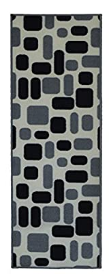 "Adgo Collection, Live Gray and White Rectangular Contemporary Design Runner Rug (20""x59"")"