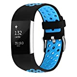 For Fitbit Charge 2 Bands, Soft Silicone Adjustable Replacement Sport Strap Bands for Fitbit Charge 2 Smartwatch Fitness Wristband Blue Small