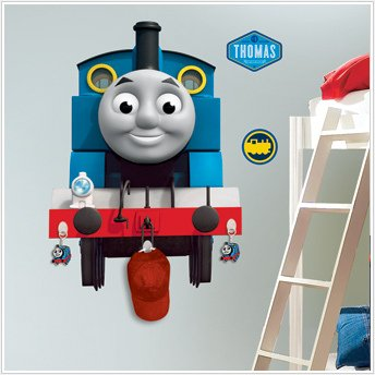 THOMAS TANK ENGINE Giant Wall Stickers Mural w/ Hooks Room Decor Train Decals