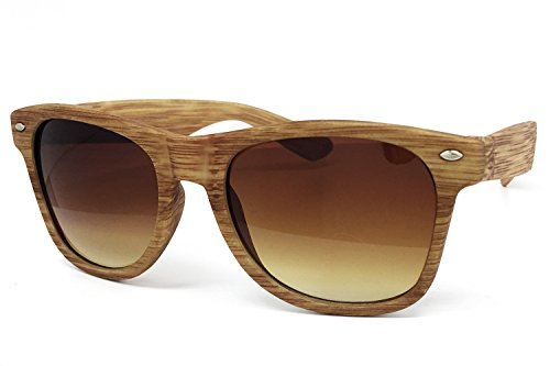 O2 Eyewear CH53 Faux Wood Reflective Revo Color Lens Horn Rimmed Sunglasses (Faux Wood, BROWN) ()