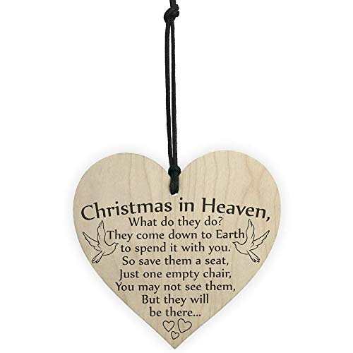 Fineser Christmas Deco, Wood Christmas Ornament Christmas in Heaven Xmas Tree Decoration Memorial Quote Heart Plaque Love Poem ()