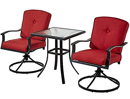 Patio Bistro Set Seats 2 Cushioned Swivel Chairs Outdoor Small Space Deck  Porch (Red)