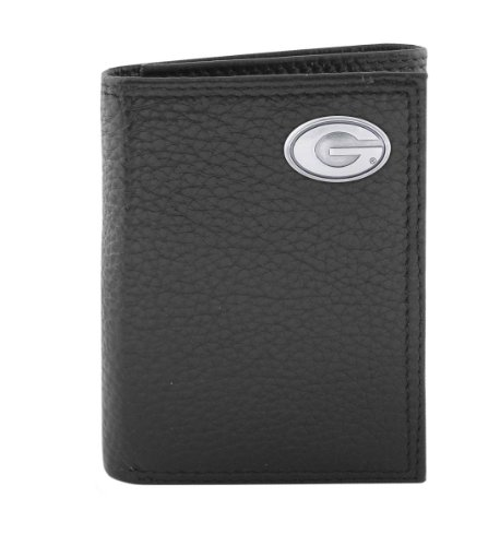 NCAA Georgia Bulldogs Black Pebble Grain Leather Trifold Concho Wallet, One Size