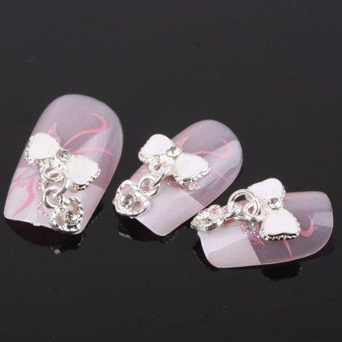 350buy 10pcs Bow Tie Heart Alloy 3D Rhinestone Nail Art Slice DIY -