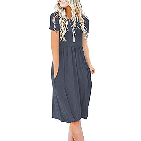 - 41tQZ ut6BL - DB MOON Womens Summer Casual Empire Waist Dresses with Pockets