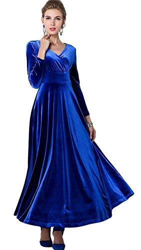 Donna Blu Vestito Lunga Goco Scuro Scollo Vintage V Urban Velluto Prom Abito A Manica Sera Abiti Vestiti Di LMUzjSpGqV