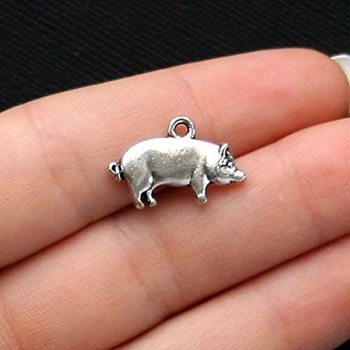 - 10 Pig Charms Antique Silver Tone Jewelry Making Supply Pendant Bracelet DIY Crafting by Wholesale Charms