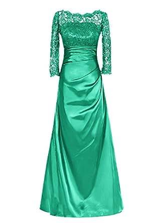 Dresstells reg;Vestido De Mujer Gala Fiesta Largo Elegante Mangas Tres Cuartos De Satén Encaje Verde 38