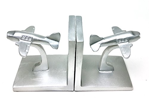 Airplane Bookends - Bellaa 25723 Airplane Bookend Aviation Book Shelf Decor 5 inch