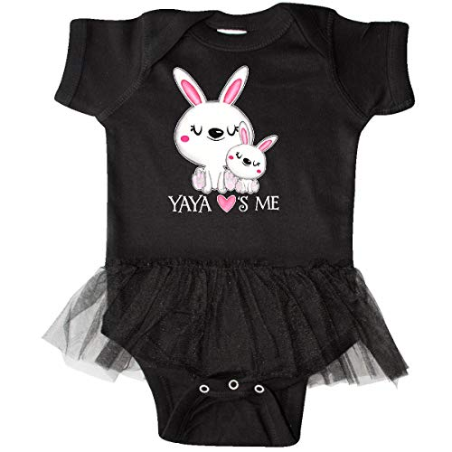 inktastic - Yaya Loves Me- Bunny Infant Tutu Bodysuit 6 Months Black -