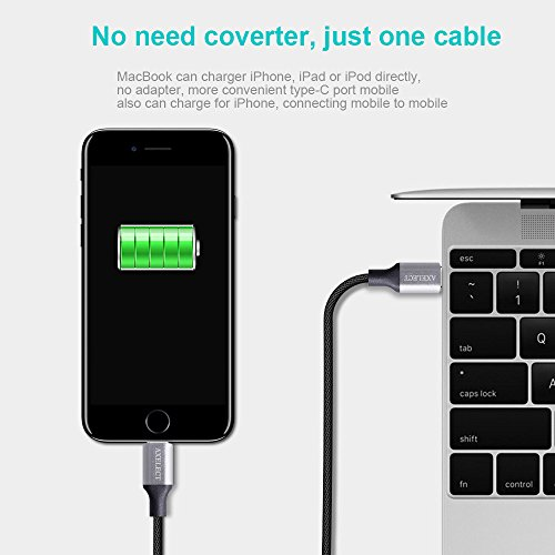 Type C to Lightning Cable, 2Pack 6.6ft Nylon Braided, AXELECT Lightning to Type C Charging Cord Sync & Data Cable for iPhone8 iPhone X iPad to Macbook Pro 2016, MacBook and other Type-C Devices Photo #6