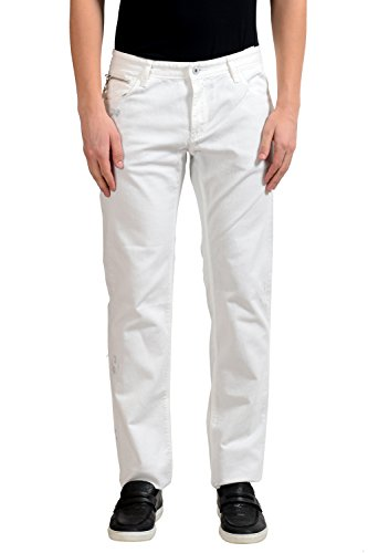C'N'C Costume National Men's White Distressed Slim Jeans US 35 IT (Cnc Costume National Jeans)