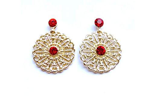 Linda Fashion Snowflake Rhinestone Earrings, Gold, 12 - Linda Fashion