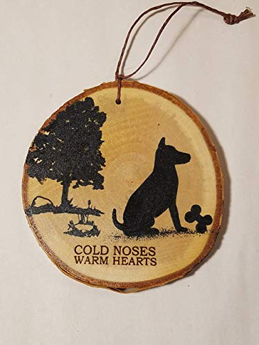 dog Christmas tree ornament hand painted on white NH birch tree wood slice, PERSONALIZE IT!