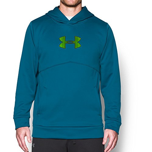 Under Armour Men's Storm Icon Logo Hoodie, Peacock (779)/Hyper Green, Large (Icon Mens Sweatshirt)