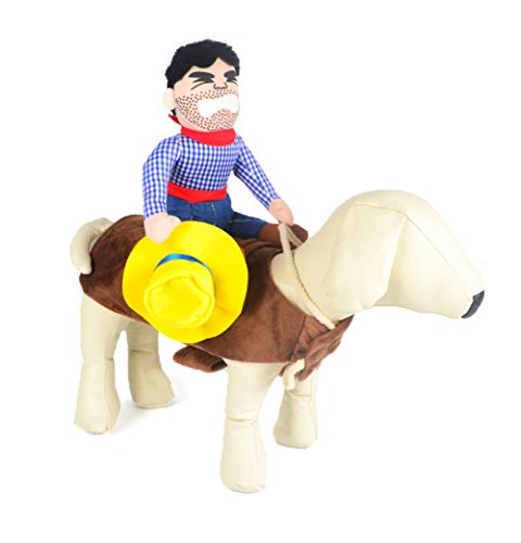 [Riding Horse Cowboy Dog Novelty Funny Halloween Party Pet Dog Costume (S)] (Pomeranian Costume)